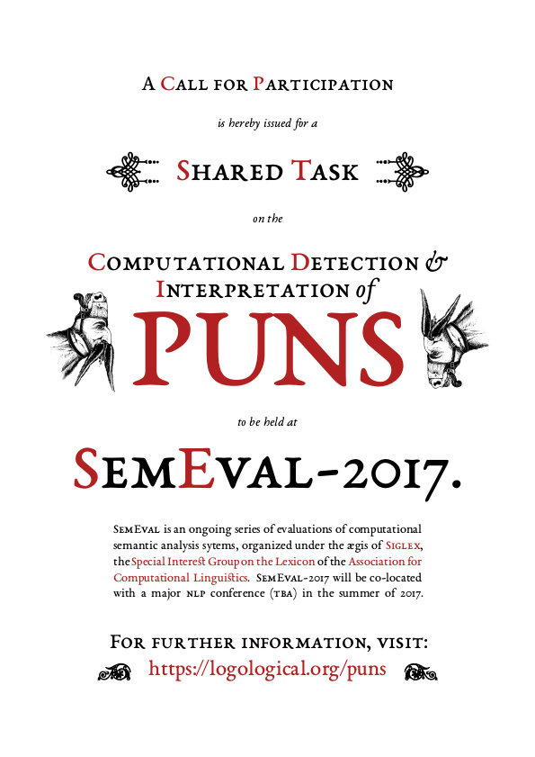 [A publicity poster/flyer for the SemEval-2017 shared task to detection and interpretation of English puns]